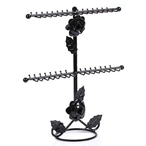 Guohailang Joyas de Soporte de exhibición Joyería Organizador de la joyería del sostenedor for Accesorios Collares Pendientes Anillos Rack Soporte de la joyería Negro Colgando Estante Colgante