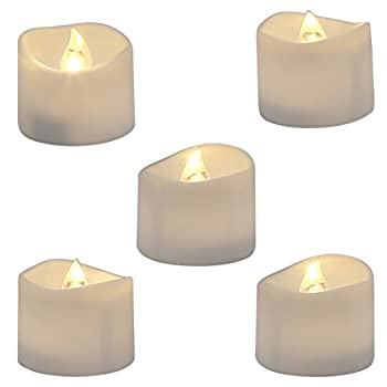 Homemory Realistic and Bright Flickering Bulb Battery Operated Flameless LED Tea Light for Seasonal & Festival Celebration Pack of 12 Electric Fake Candle in Warm White and Wave Open