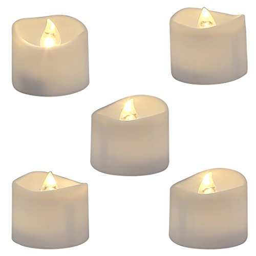 Homemory Realistic and Bright Flickering Bulb Battery Operated Flameless LED Tea Light for Seasonal and Festival Celebration, Pack of 12, Electric Fake Candle in Warm White and Wave Open
