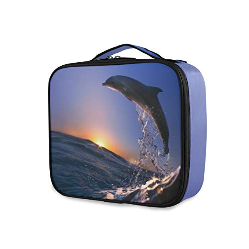 Trousse de toilette Dolphin Jump From Sea Wave Storage Travel Makeup Bag Tools Cosmetic Train Case Beauty Portable