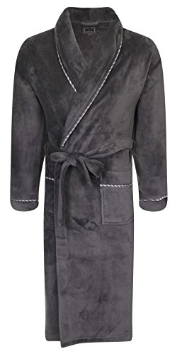 Luxury Mens Full Length Velour Dressing Gown Robe with Silver Stitch Trim Detail,...