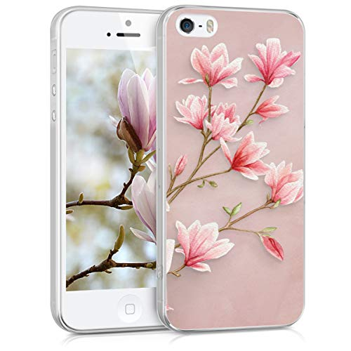 kwmobile Cover Compatibile con Apple iPhone SE (1.Gen 2016) / 5 / 5S - Back Case Custodia in Silicone TPU Trasparente Magnolie Rosa/Bianco/Rosa Antico