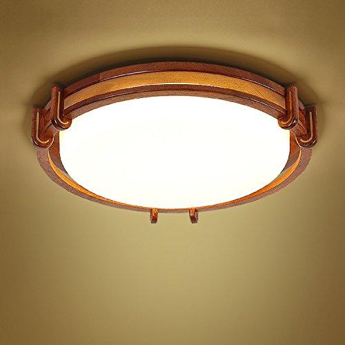 Waineg Led Rosewood Chinois Plafond Lampe Solide Bois Salon Chambre Lampe Étude Restaurant Creative Ronde Décoration Plafonnier Diamètre 48 cm / 24w / Blanc Lumière