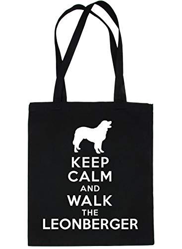 Print4u Einkaufstasche Keep Calm und Walk Leonberger Dog schwarz
