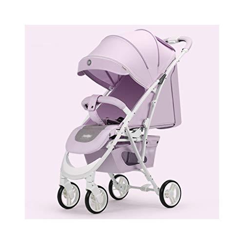 Landau Poussette bébé, Transport avec siège réglable en Hauteur Angle et Absorption des Chocs à Quatre Roues, Haut Paysage et Fashional Pram Landau bébé (Color : Purple)