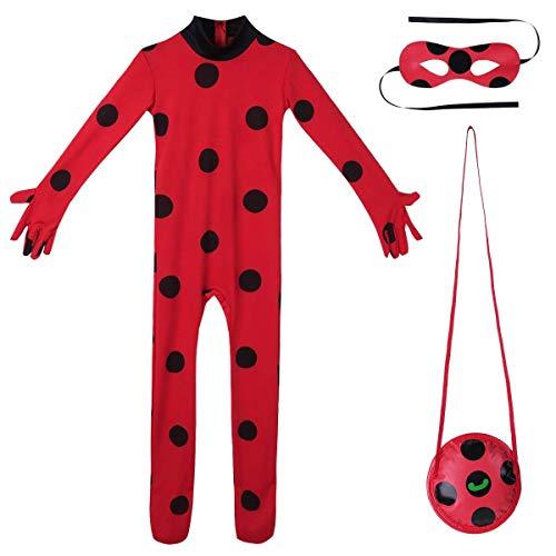 Kinder Mädchen Halloween Karneval Cartoon Marienkäer Kostüm Overall mit Schwarze Polka Dots Party Cosplay Kostüm 3tlg. Set Outfits