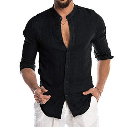 Luckycat Hombre Camisa de Lino sin Cuello Camisa Hombre Cuello Mao Lino Blusa Manga Larga Camisas Top Sin...