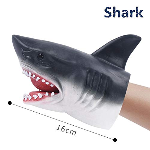 yhdcc44 Dinosaurier Tier weiche Handpuppe Gummi, realistische Jura Dinosaurier Spielzeug Shark Puppet Boy Spielzeug Kinder Geschenk lustiger Witz Toy-Shark