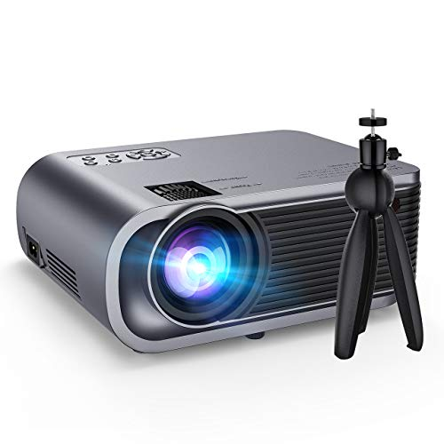 "Mini Projector with Tripod, 5000Lux +50% Brighter Portable Video Projector with Hi-Fi Sound, HD 1080P and 200"" Big Screen Display Supported, Compatible with TV Stick, PS4.【2020 New】"