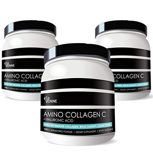 (3-Pack) Amino Collagen C - Collagen Powder (180 Scoops) - Marine Collagen Peptides + Hyaluronic Acid. No Sugar. No Odor. Non GMO. USA. for Hair, Skin, Nails, Joints, Gut Health.