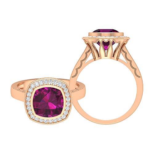 Rosec Jewels 14 quilates oro rosa cojín Round Brilliant rodolita Moissanite