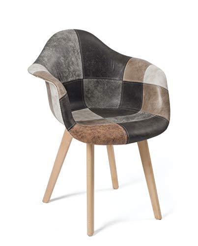 KAYELLES Lot de 2 chaises scandinaves Patchwork, Salle à Manger, Cuisine - NEDA (Patchwork Marron)