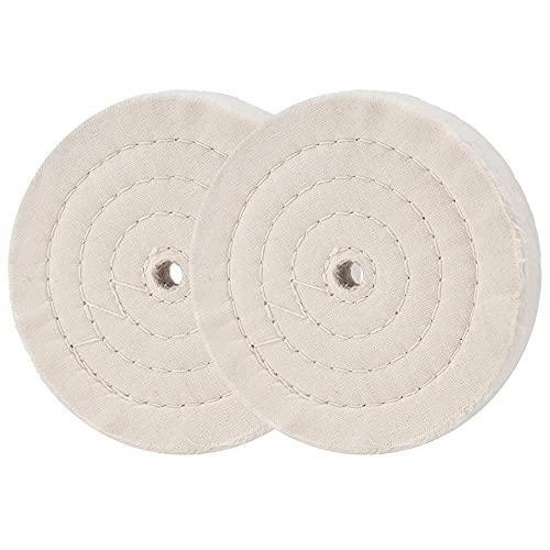 Rueda de pulido Rueda pulidora de 6 pulgadas (70 capas) para amoladora de banco Espejo cosido en espiral Algodón 2 piezas
