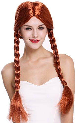 WIG ME UP- 90958-ZA131 Peluca Mujer Carnaval Halloween Rojo Largo Trenzas Trenzadas Colegiala traviesa