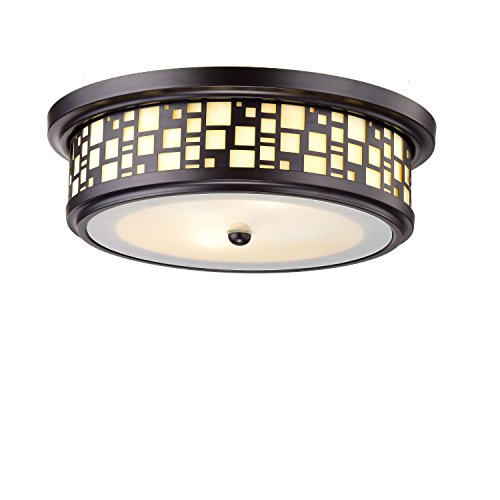 YOBO Lighting 2-Light Resin Flush-Mount Ceiling Lights, Oil Rubbed Bronze Finish on Steel with Frosted Glass