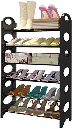 XWZH Zapatero a prueba de polvo para zapatos, fácil de montar, resistente al óxido, marco de acero inoxidable, elegante, moderno, negro, 65 x 20 x 65 cm, 65 x 20 x 95 cm (tamaño: 6 niveles)