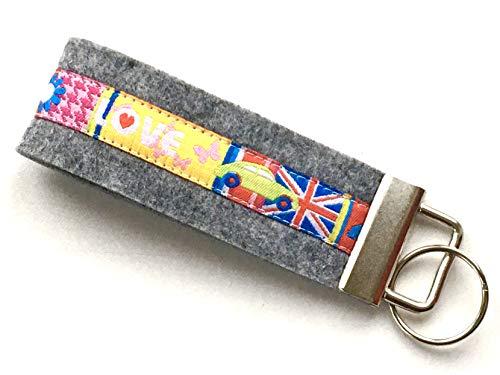 Schlüsselanhänger Schlüsselband London Love Filz Frauen Handmade