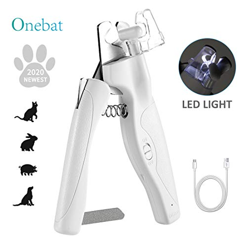 Onebat Dog Cat Nail Clippers and Trimmer-Pet Nail Clippers with Rechargeable Light, Razor Sharp Blades and Free Nail File, Safety...