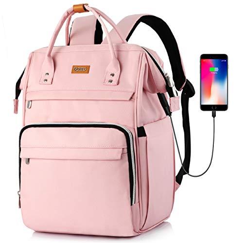 Mochila Escola para Mujeres,Antirrobo Mochila Portatil Impermeable para Jóvenes con Bolsillo RFID, Bolsos Casuales para la Universidad/Negocios/Viajes (Rosado)