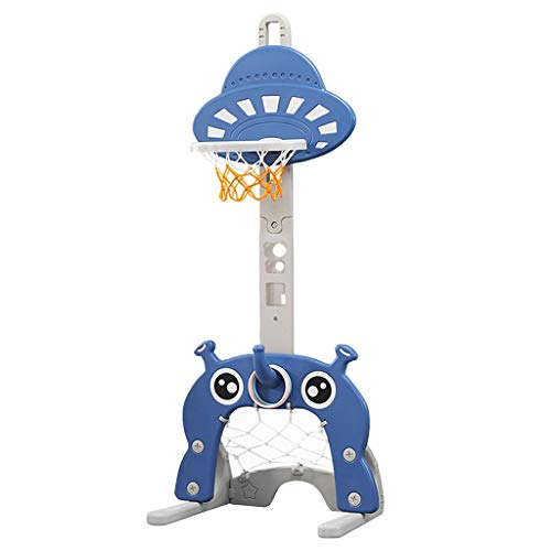 4 in 1 Adjustable Basketball Hoop Stand Toy Set Basketball Ring Toss Soccer Golf Suit Children Indoor Sports Pitching Frame Toy Best Gift Sports Game Activity Center (Blue)