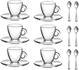 'Roma' 3.2-Ounce. Small Demitasse Clear Glass Espresso Drinkware, Set of 6 Cups/Saucers + Set of 6 Stainless Steel 18/10 mini Espresso Spoons! Hostess, Coffee Lover/Enthusiast, Espresso.
