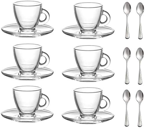 """""""Roma"""" 3.2-Ounce. Small Demitasse Clear Glass Espresso Drinkware, Set of 6 Cups/Saucers + Set of 6 Stainless Steel 18/10 mini Espresso Spoons! Hostess, Coffee Lover/Enthusiast, Espresso."""