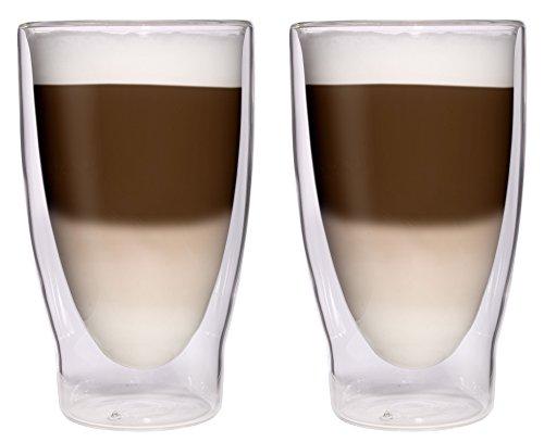 OFFRE SPECIALE: 2x 370ml XXL verres à cocktail à double paroi / verres longdrink / verres à thé de glace / jus et verres à eau - 2x 370ml nobles grands verres thermos à effet lévitation par Feelino