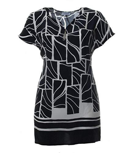 Chalou Damen Long-Top Long-Shirt mit Muster in Schwarz Sommer-Mode große Größen elegant, Größe:60