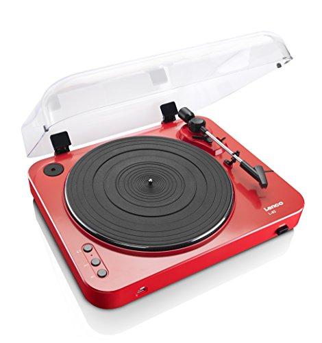 Lenco L-85 RD - Tocadiscos para Equipo de Audio (MP3, USB), Rojo
