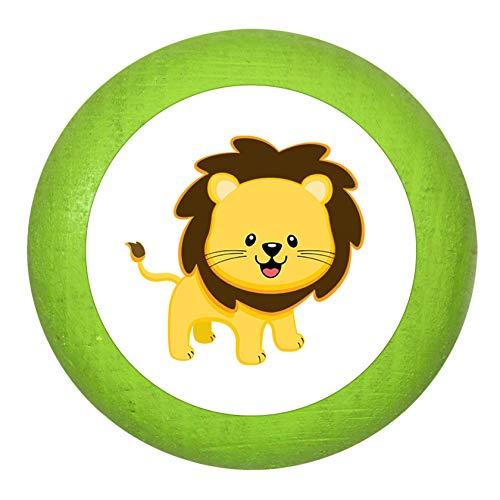 """Holz Bucheknauf""""Löwe"""" limette grün Holz Buche Kinder Kinderzimmer 1 Stück wilde Tiere Zootiere Dschungeltiere Traum Kind"""