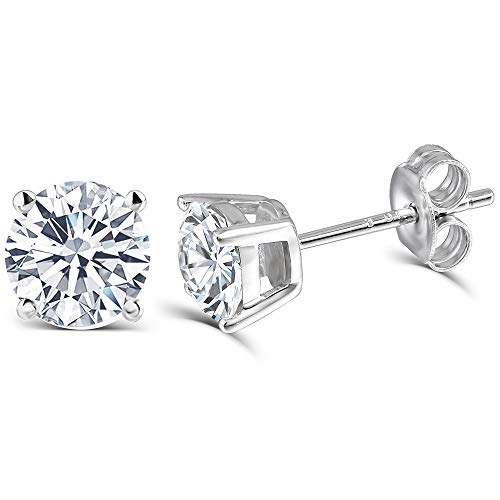 1CTW Color H 5mm Lab Moissanite Diamond Stud Earrings,Platinum Plated Silver Push Back for Women (platinum-plated-silver, 1)