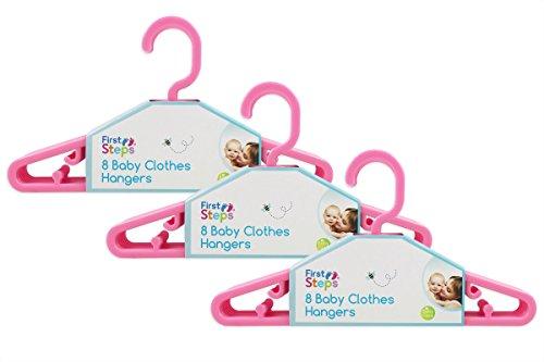 First Steps - Paquete de perchas para ropa de bebé (8, 16, 24 o 32 unidades), color rosa, blanco o azul rosa rosa Talla:pack de 24