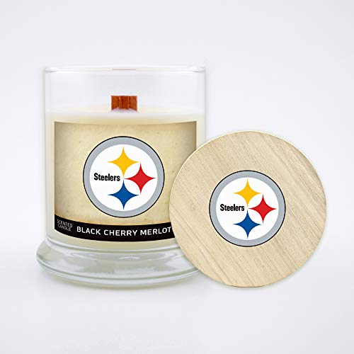 Worthy Promo NFL Pittsburgh Steelers Gifts 8oz Scented Candle Soy Wax w/Wood Wick and Lid, Black Cherry Merlot