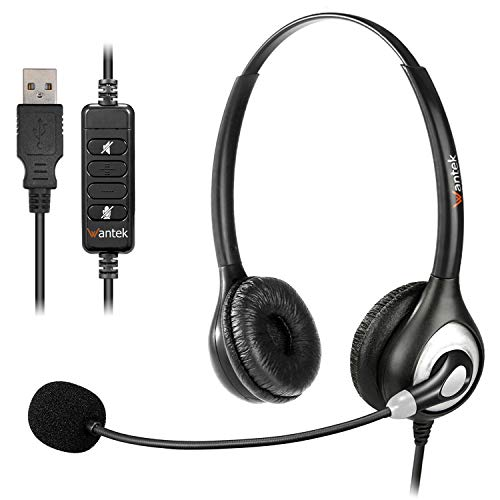 USB Headset PC mit Mikrofon Noise Cancelling, Stereo PC Kopfhörer für Laptop Business Skype UC Lync SoftPhone Call Center Office Webinar, Lautstärkeregler, Klar Chat, Ultra Komfort