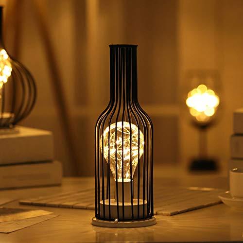 Osairous Luz de Noche de Hierro Retro, Lámpara de Mesa Creativa de Taza Botella de Vino, Lámpara de Noche de Alambre de Cobre para Home Restaurant Hotel Baterías no Incluidas (Botella)