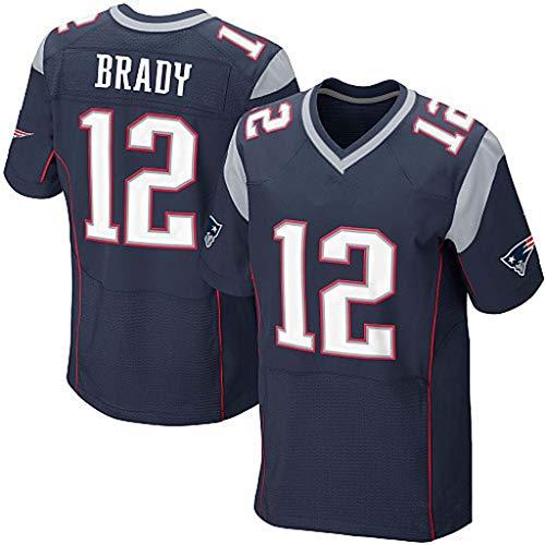 NBJBK T-Shirt NFL Trikot, Patriots 12# Brady 87# 12# Elite Edition Besticktes Trikot-Kurzarm-Sportoberteil,blue-12,M