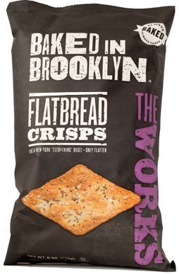 Baked in Brooklyn Flatbread Crisps,The Works, 6-ounce Bags (Pack of 12)