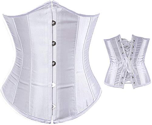 Loalirando Korsett für Damen, Satin-Kleid mit Gürtel, Gothic-Bustini, Korsette, Körperform, Bauch, Taille, Weste, Weiß S