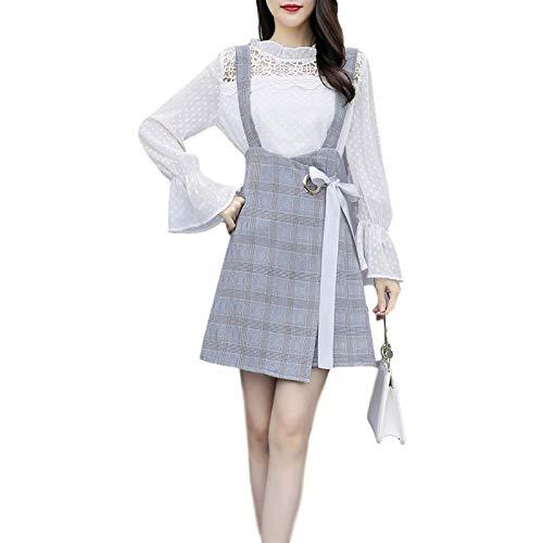 Vestido de Mujer Moda de Dos Piezas Tirantes de Manga Larga Resistencia Vestido Coreano Simple y cmodo Otoo Medium