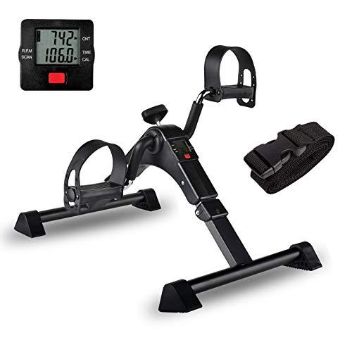 IPKIG Under Desk Bike Pedal Exerciser for Arm/Leg Fitness Folding Mini Exercise Bike Portable Home Desk Cycle (Black)