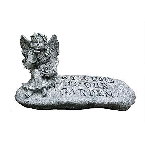 Señal de Bienvenida Letrero Miniatura Estatua Jardín Jardín de ángeles creativo Estatuas de bienvenida Accesorios Esculturas de poliresina Decorativas for patios exteriores para Decoración de Jardín P