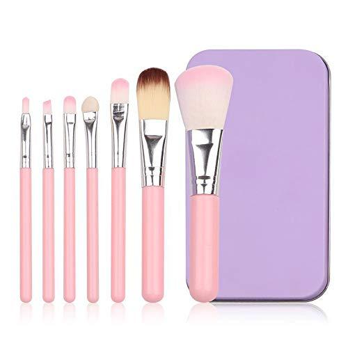 Set de pinceau de maquillage 7pcs Visage Œil Contour Poudre Liquide Crème Brosses cosmétiques avec étui portable Doux (Color : Rose, Size : Onesize)