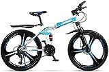 Bicicleta de montaña 24 Velocidad robusta bicicleta plegable de 24 pulgadas masculino y femenino estudiantes Shift Frenos Doble Amortiguador adulto Cercanías plegable doble disco Urban Track, Rojo, 24