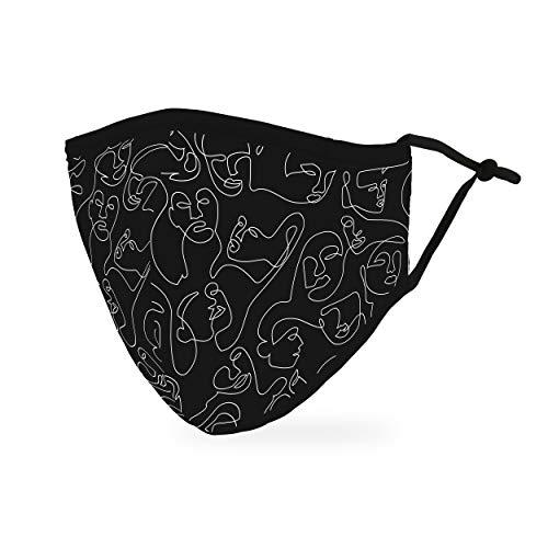 Weddingstar Maschera facciale in tessuto lavabile per adulti Copertura protettiva in tessuto riutilizzabile e regolabile con tasca per filtro antipolvere - Molte facce