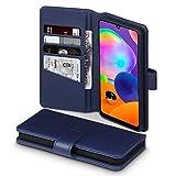 TERRAPIN, Kompatibel mit Samsung Galaxy A31 Hülle, [ECHT Leder] Brieftasche Hülle Tasche mit Standfunktion Kartenfächer & Bargeld - Blau