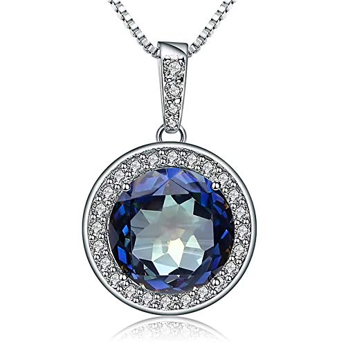 Collar con colgante de piedras preciosas de cuarzo místico azulado natural, joyería fina de plata de ley 925 sólida para mujeres