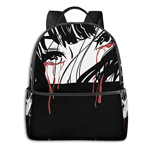 IUBBKI Mochila lateral negra Mochilas informales Anime & Crying Girl Classic Student School Bag School Cycling Leisure Travel Camping Outdoor Backpack