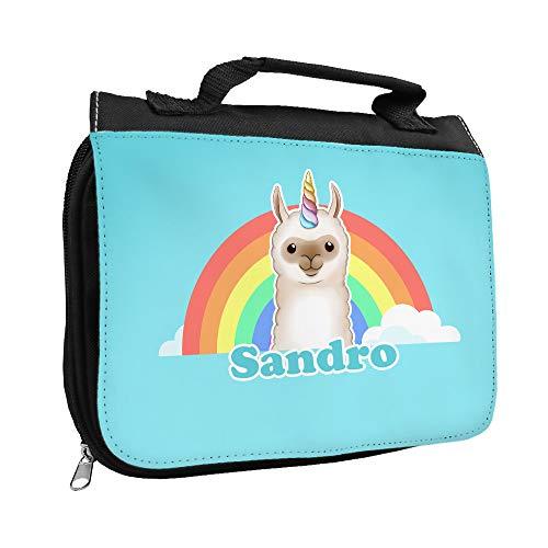 Kulturbeutel mit Namen Sandro und Llama-Einhorn-Motiv | Kulturtasche mit Vornamen | Waschtasche für Kinder
