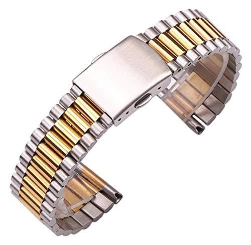 TSYGHP Pulsera de reloj de acero inoxidable para mujer, de oro plateado, de 12 mm, 14 mm, 16 mm, 18 mm, 20 mm, correa de reloj de metal con doble cierre y oro rosa (color: 16 mm, tamaño: plata)