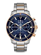 This sporty watch has a ratcheted rotating blue and rose gold-tone Outline and stainless steel bezel perfect for every day use- the watch has a calendar function: date, stop watch, luminous hands, luminous numbers High quality 21 cm length, 20 mm wid...